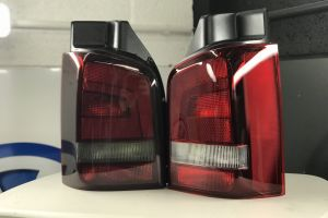We removed these tail lights because access was easier off the vehicle. Certain lights can be done on the vehicle, others may need to be removed. You can clearly see the difference in tint film vs. no tint Headlight & Tail Light Tints