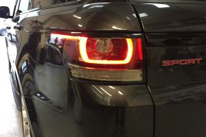 Legal tint installed on this range rover sport. The LED brake lights show perfectly when on but the film adds a lightly smoked look. Headlight & Tail Light Tints