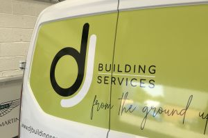 Digitally printed and laminated graphics installed for DJ Building Services. Often a colour block adds contrast to the vehicle's paintwork, perfectly illustrated here. Vehicle Signwriting