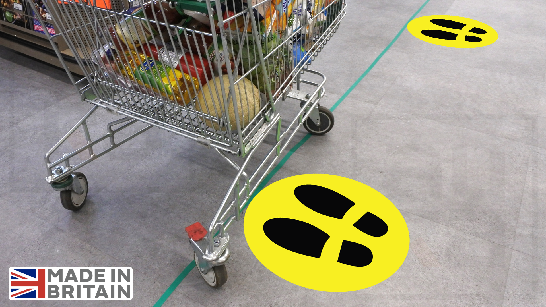 Footprint safety floor decals for supermarket, cafe or shop covid19