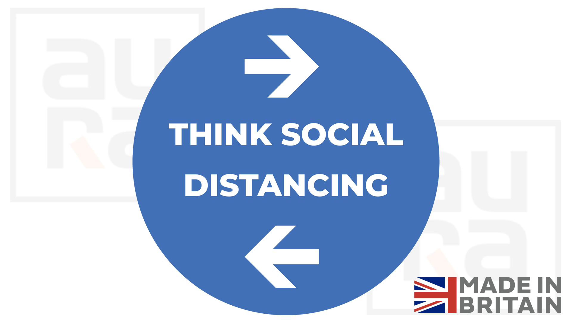 Think social distancing covid19 shop floor sticker for business